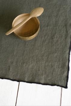 set de table luri - linge de maison - lin - harmony textile - set table luri kaki - wkhdeco