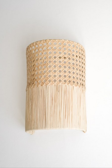 Applique murale cannage et raphia - applique luminaire - applique marocaine - applique paille - luminaire - wkhdeco