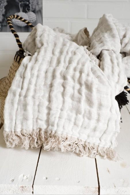 Plaid lin stone wash baya - harmony textile - wkhdeco - linge de lit - plaid