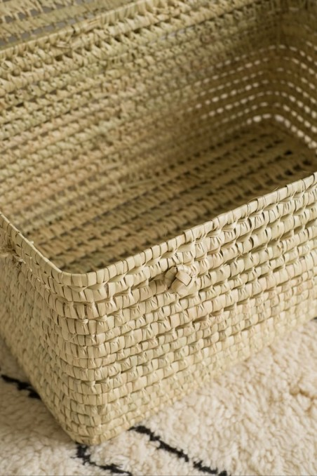 malle paille - malle feuille de palmier - coffre feuille palmier - malle Fes - wkhdeco
