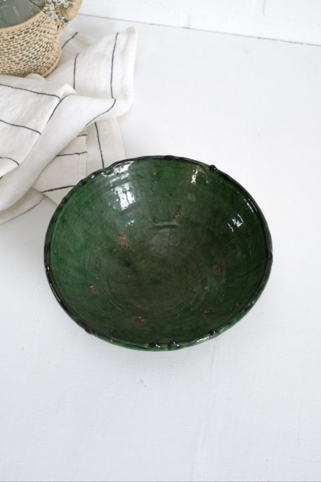 Saladier poterie tamegroute - tamegrout - poterie maroc - vaisselle maroc - poterie vert - wkhdeco