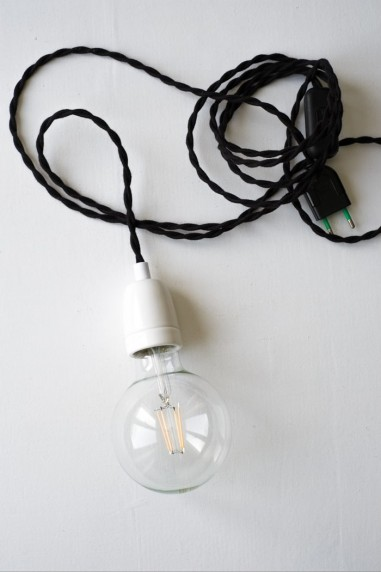 baladeuse douille blanche porcelaine fil noir - baladeuse industrielle - luminaire - wkhdeco