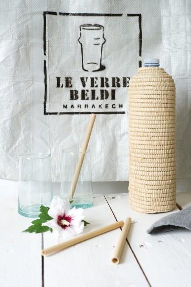 Cache bouteille raphia - artisanat marocain- art de la table- wkhdeco