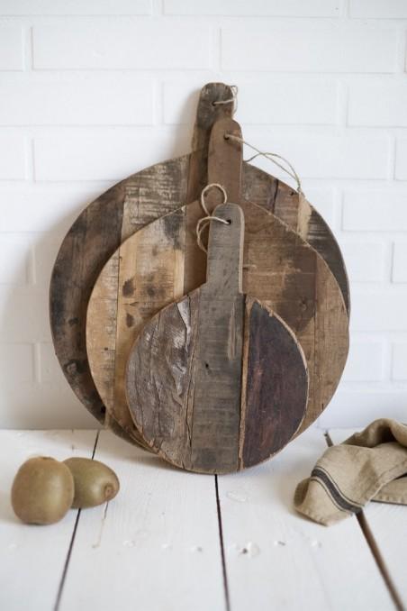 Planche en bois recyclé - planche en bois brut - planche rond en bois - Madam Stoltz - wkhdeco