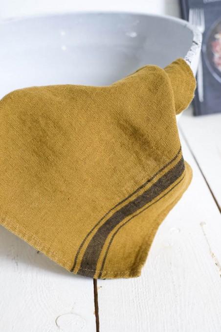 Torchon harmony olbia bronze - torchon en lin - linge de maison en lin - wkhdeco