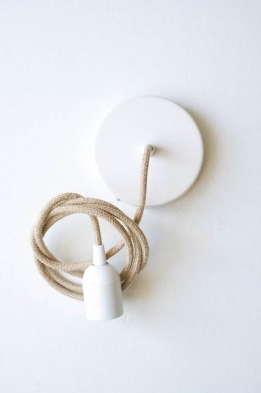 kit rosace plafonnier blanc fil jute - plafonnier - luminaire - wkhdeco