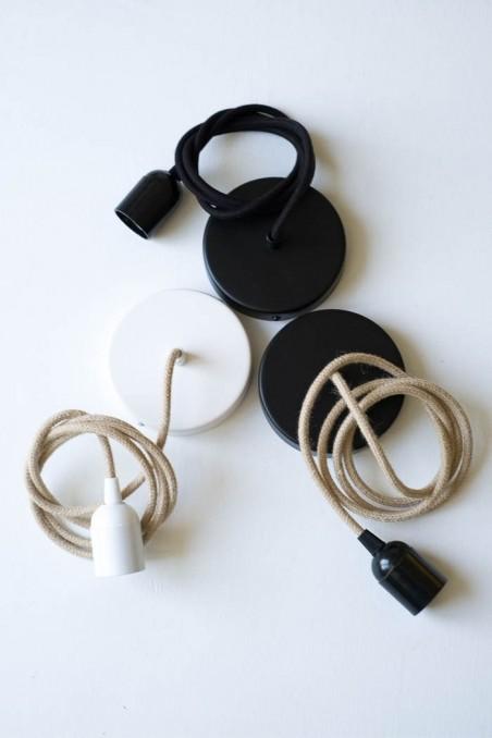 kit rosace plafonnier noire fil coton noir - plafonnier - luminaire - wkhdeco