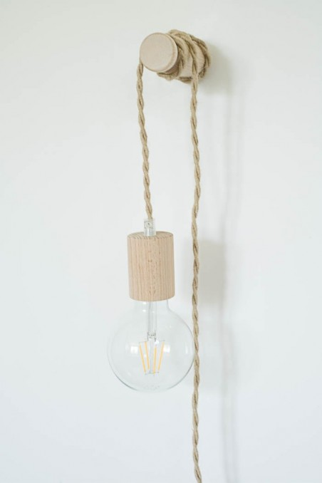 baladeuse douille bois fil jute - baladeuse - luminaire - wkhdeco