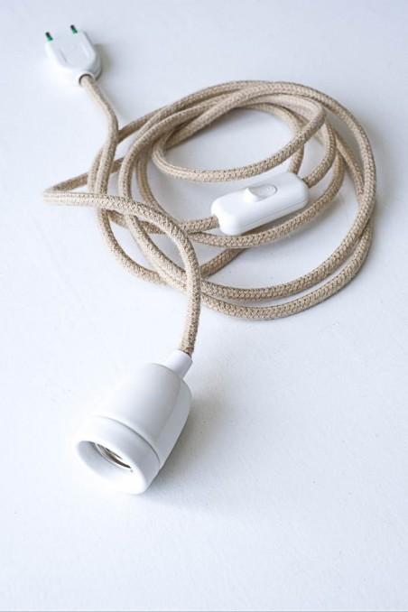 baladeuse douille blanche porcelaine fil jute naturelle - baladeuse industrielle - luminaire - wkhdeco