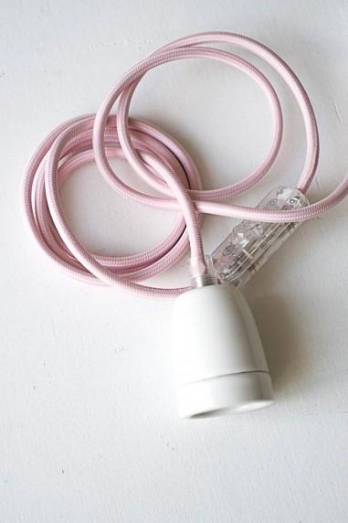 baladeuse douille blanche porcelaine fil rose pâle - baladeuse industrielle - luminaire - wkhdeco