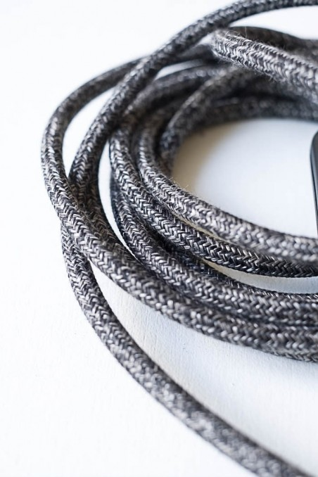 baladeuse douille aluminium vintage fil chiné noir - baladeuse industrielle - luminaire - wkhdeco