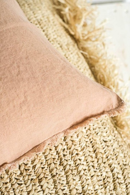 Coussin harmony textile - coussin viti camel - coussin en lin - linge de maison - linge de lit - coussin pas cher - wkhdeco