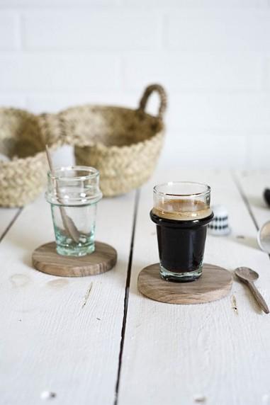dessous de tasse ou verre bois de noyer - vaisselle bois - verre beldi - wkhdeco