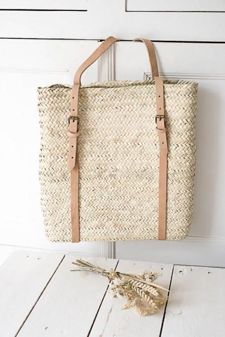 Sac à dos en paille - cartable en paille - panier en paille - sac marocain - panier marocain - wkhdeco