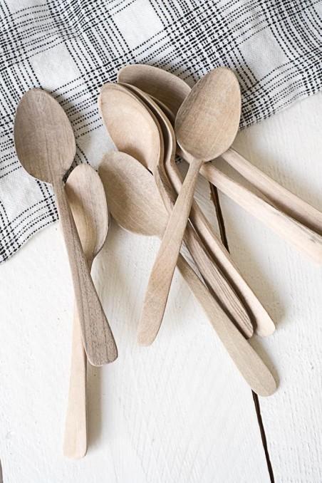 Petite cuillère en bois de noyer - cuillère bois - vaisselle bois - tasse à café étoile - wkhdeco