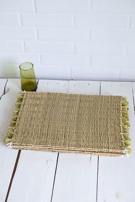 Set de table en osier à pompons - set de table naturel - set de table en paille - déco maroc - wkhdeco