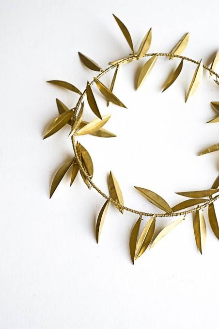 couronne laiton - maillechort - couronne feuilles olivier laiton maillechort - couronne stylisee - wkhdeco
