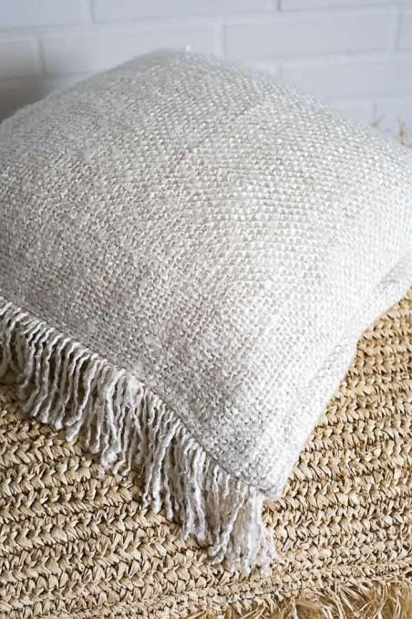 Housse de coussin coton blanc cassé - coussin boheme - wkhdeco - bazar bizar