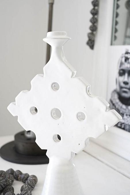 Bougeoir tamegroute - bougeoir marocain blanc - bougeoir céramique - wkhdeco
