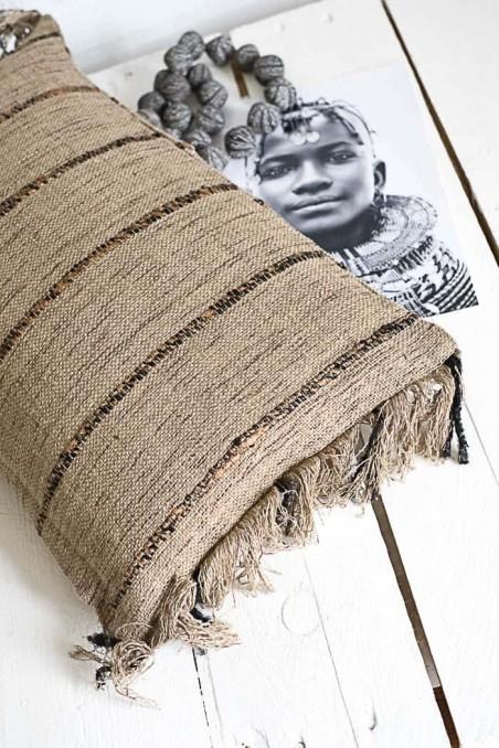 Housse de coussin coton beige et noir - coussin boheme - wkhdeco - bazar bizar