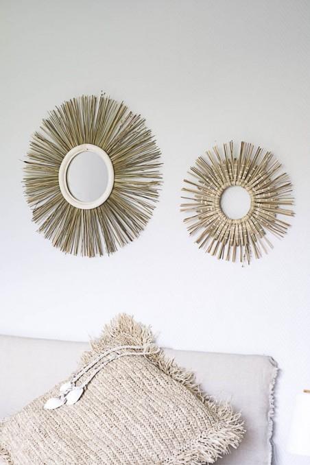 Miroir rotin et smar - miroir marocain - miroir fibre naturel - miroir rond - miroir wkhdeco