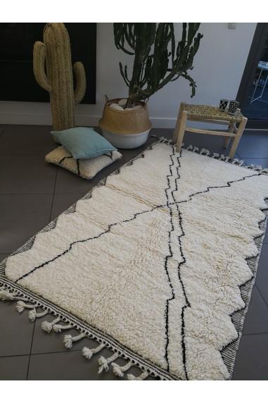 tapis berbère béni ouarain - wkhdeco - tapis laine blanc noir -